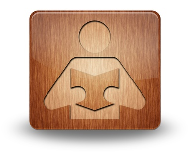 "Wooden Icon ""Library / Reader"""